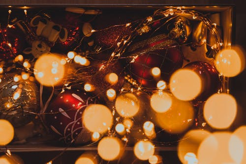 Bokeh Shot of Christmas Lights and Baubles Balls