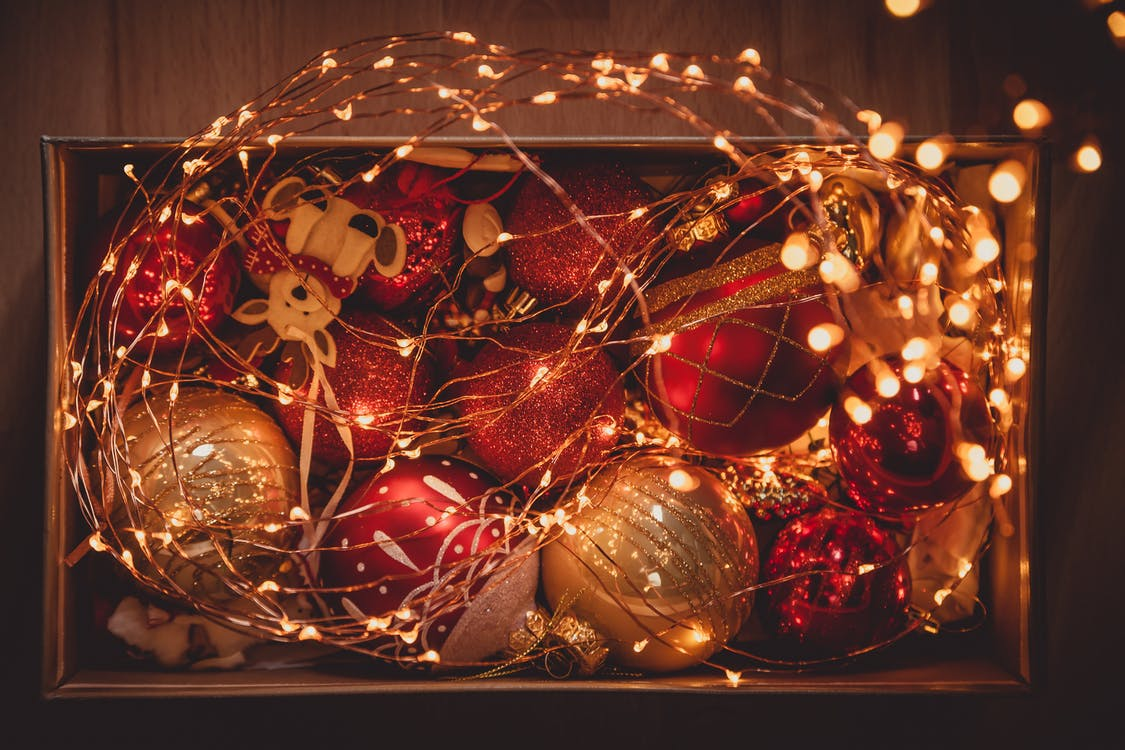 Photo of Christmans Lights and Bauble Balls in a Box
