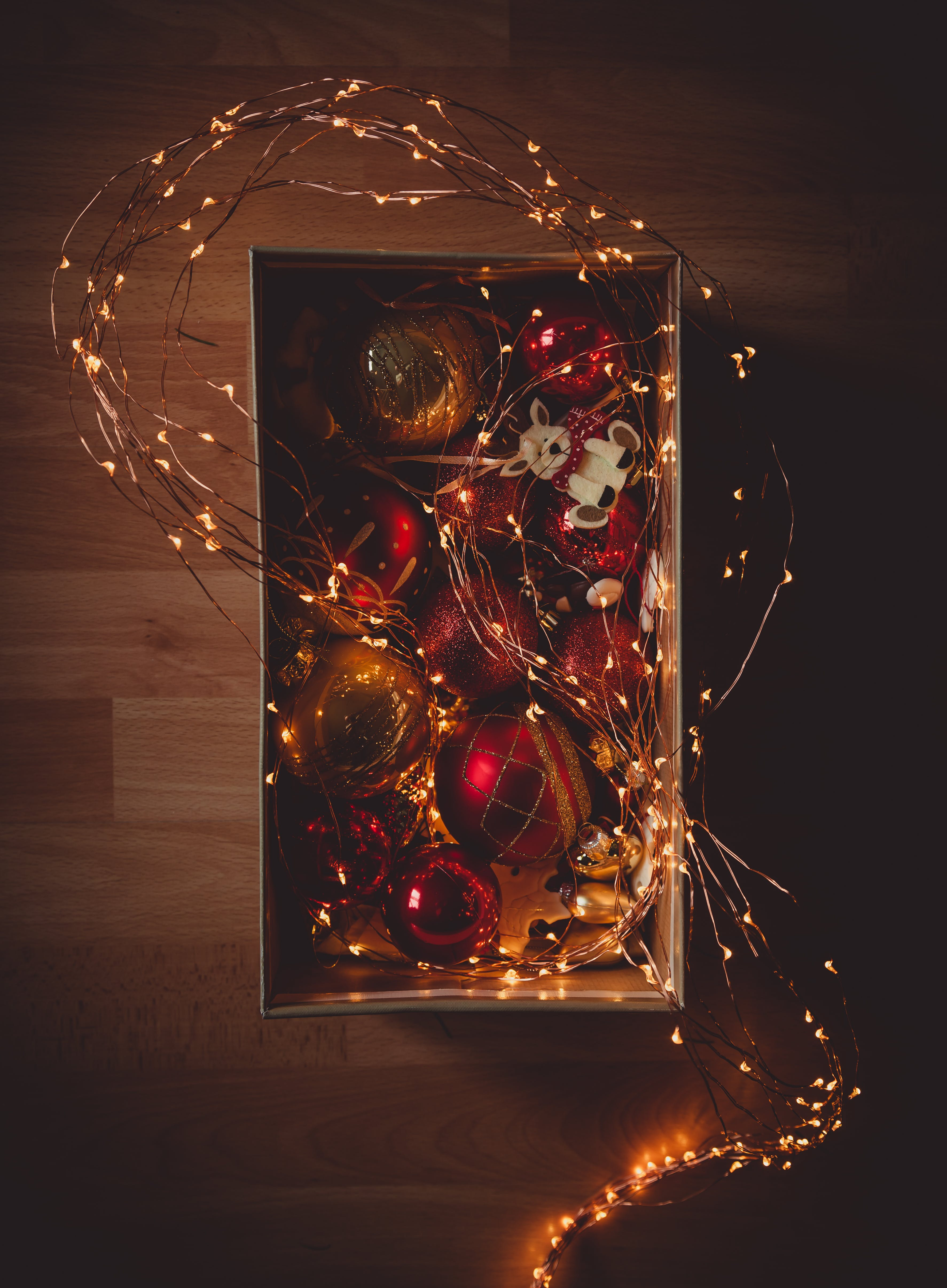 Lighted String Lights and Baubles Inside Box