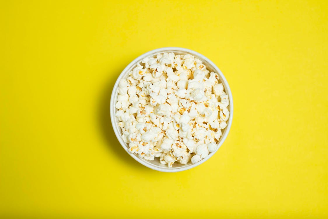 Popcorn Serving in White Ceramic Bowl