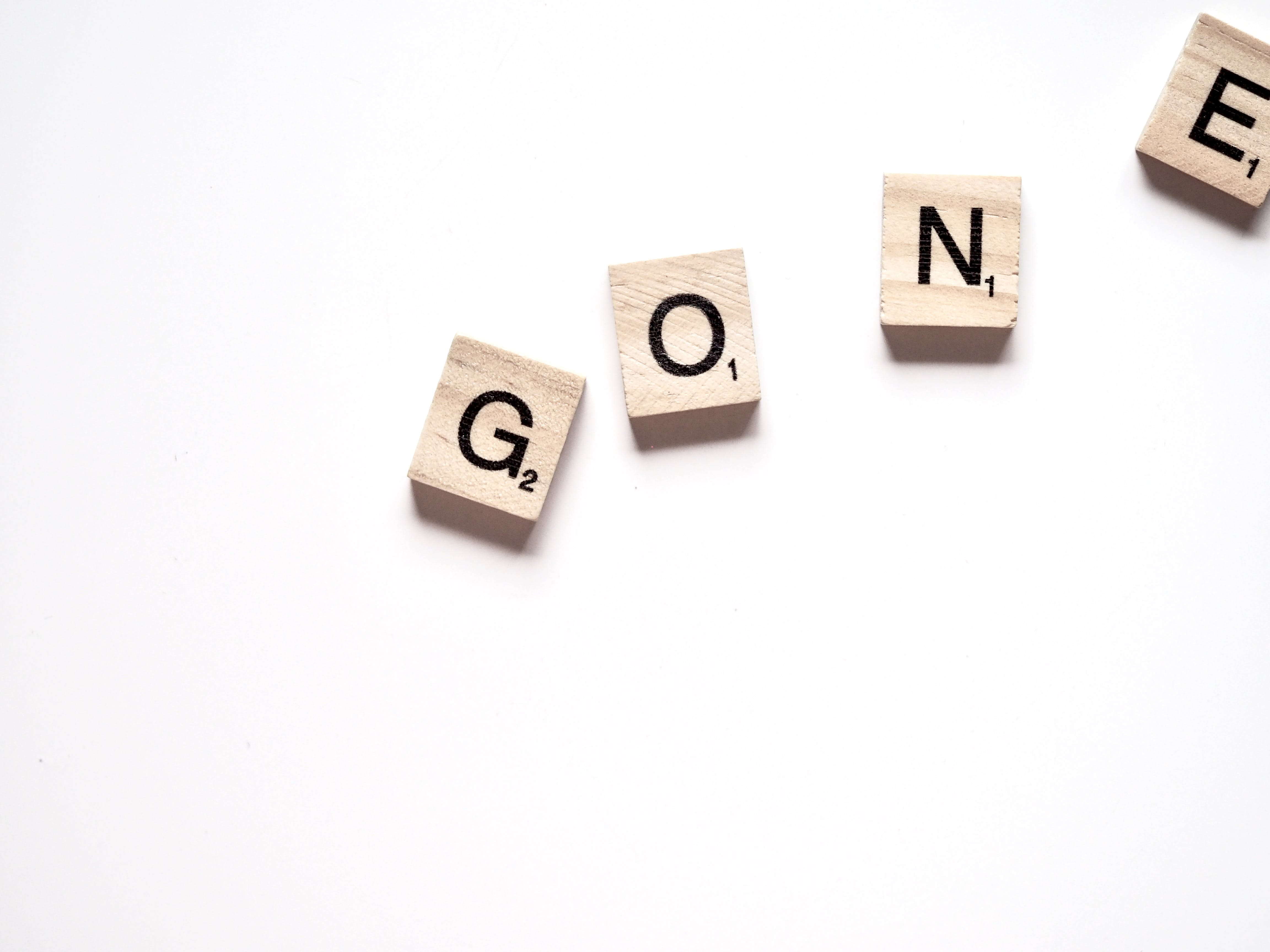 Gone Scrabble Pieces