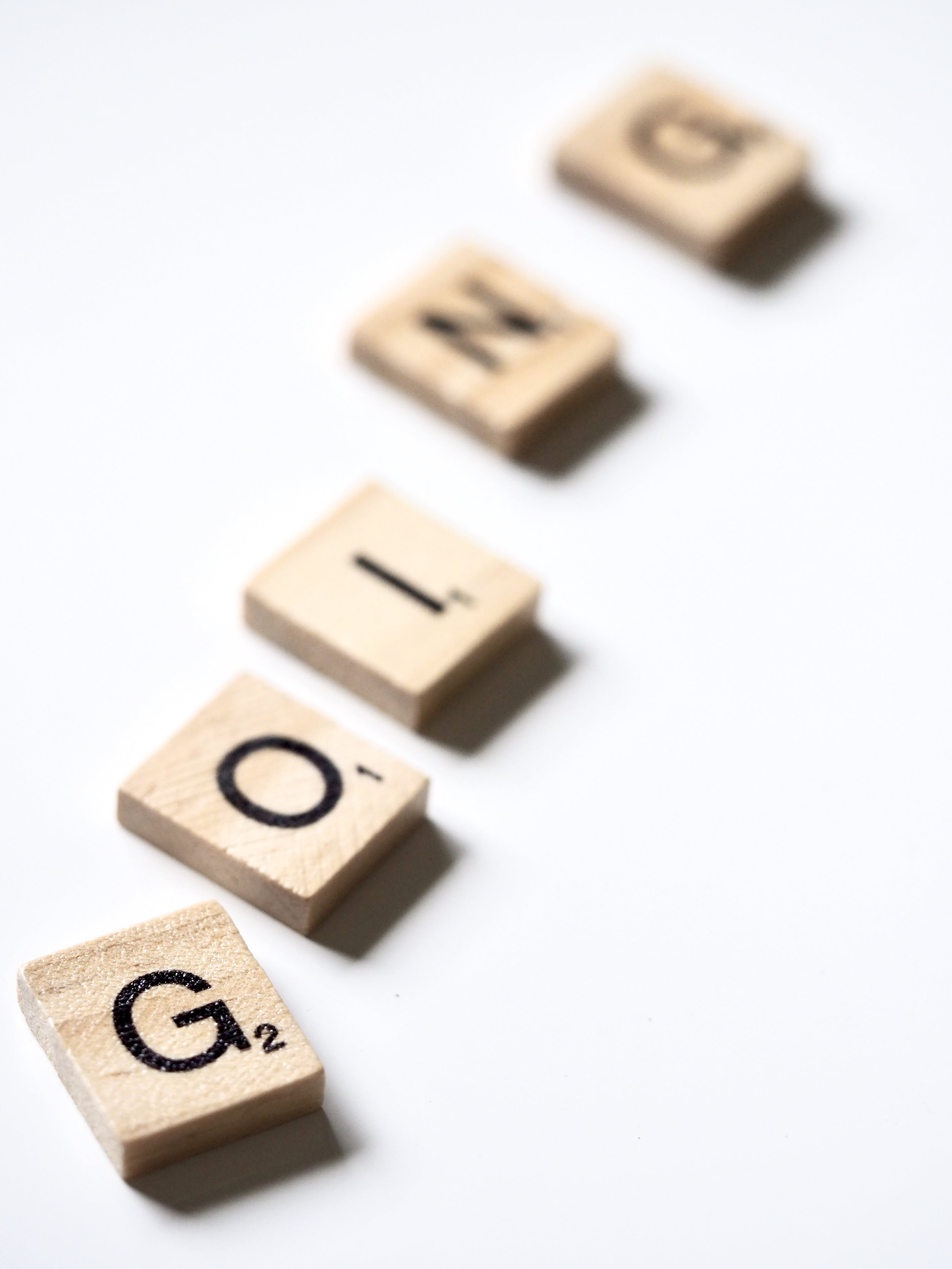 Scrabble Letters Forming the Word Going