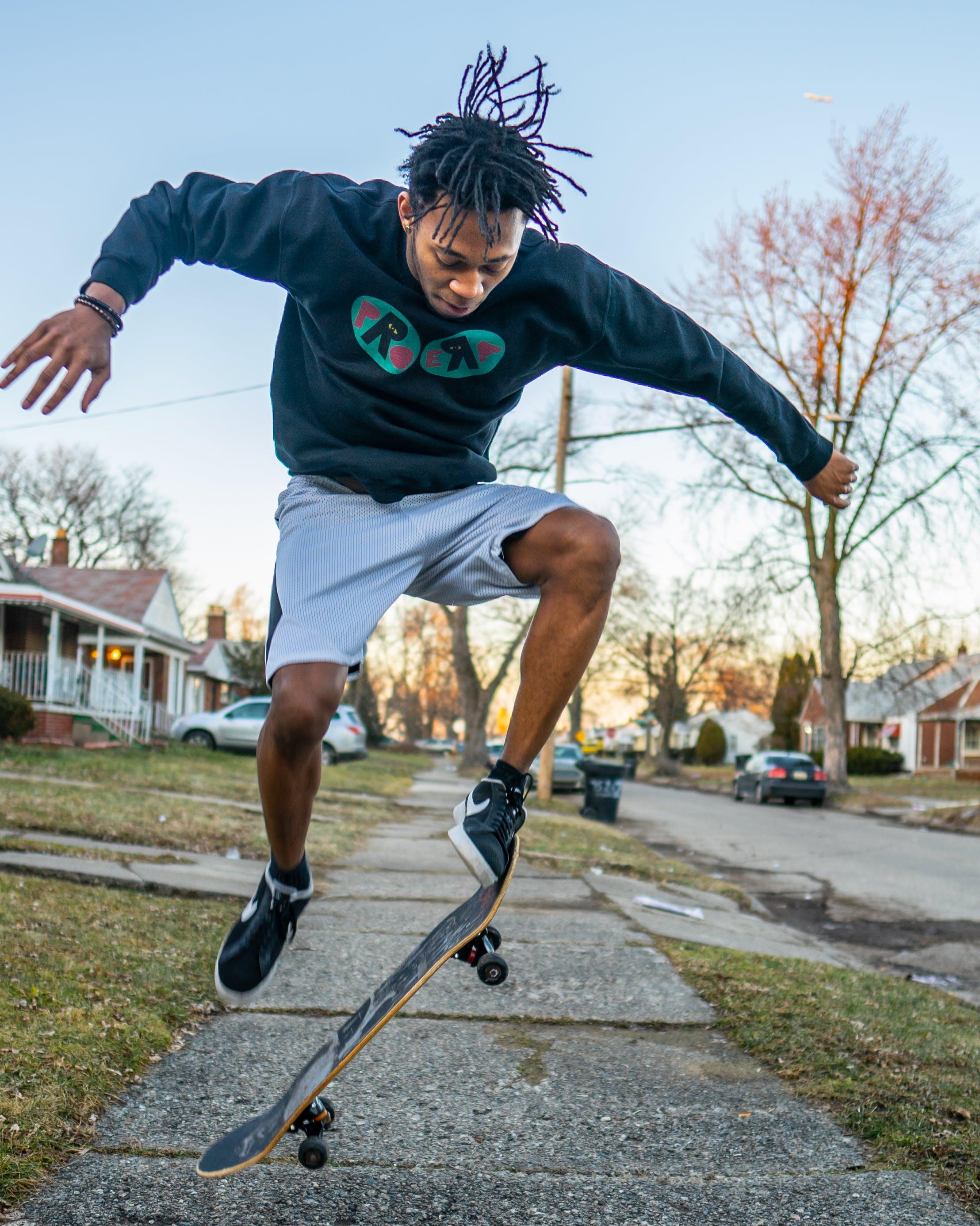 Man Doing Skateboard Stunt