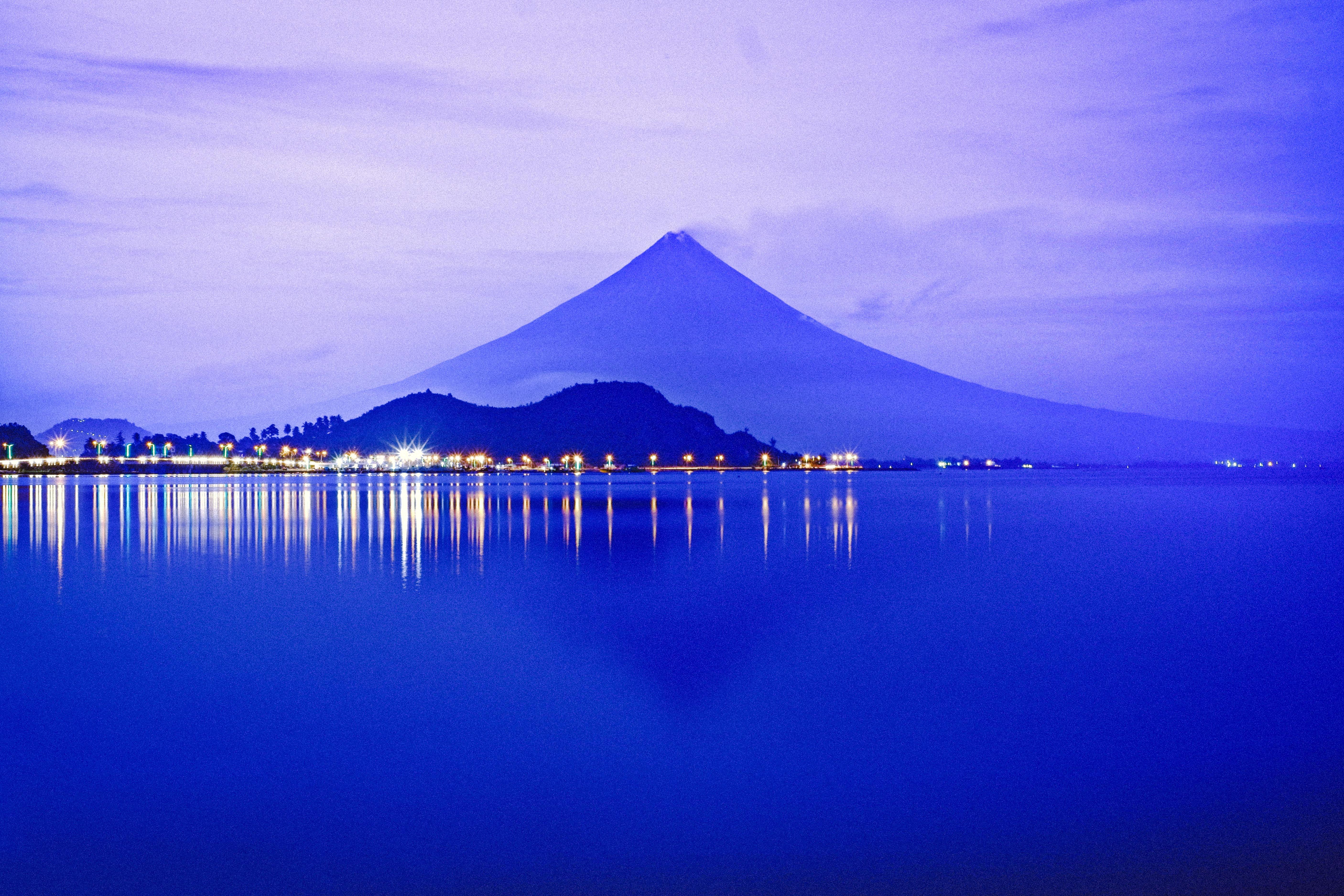 Free stock photo of blue sky, city lights, Mayon Volcano