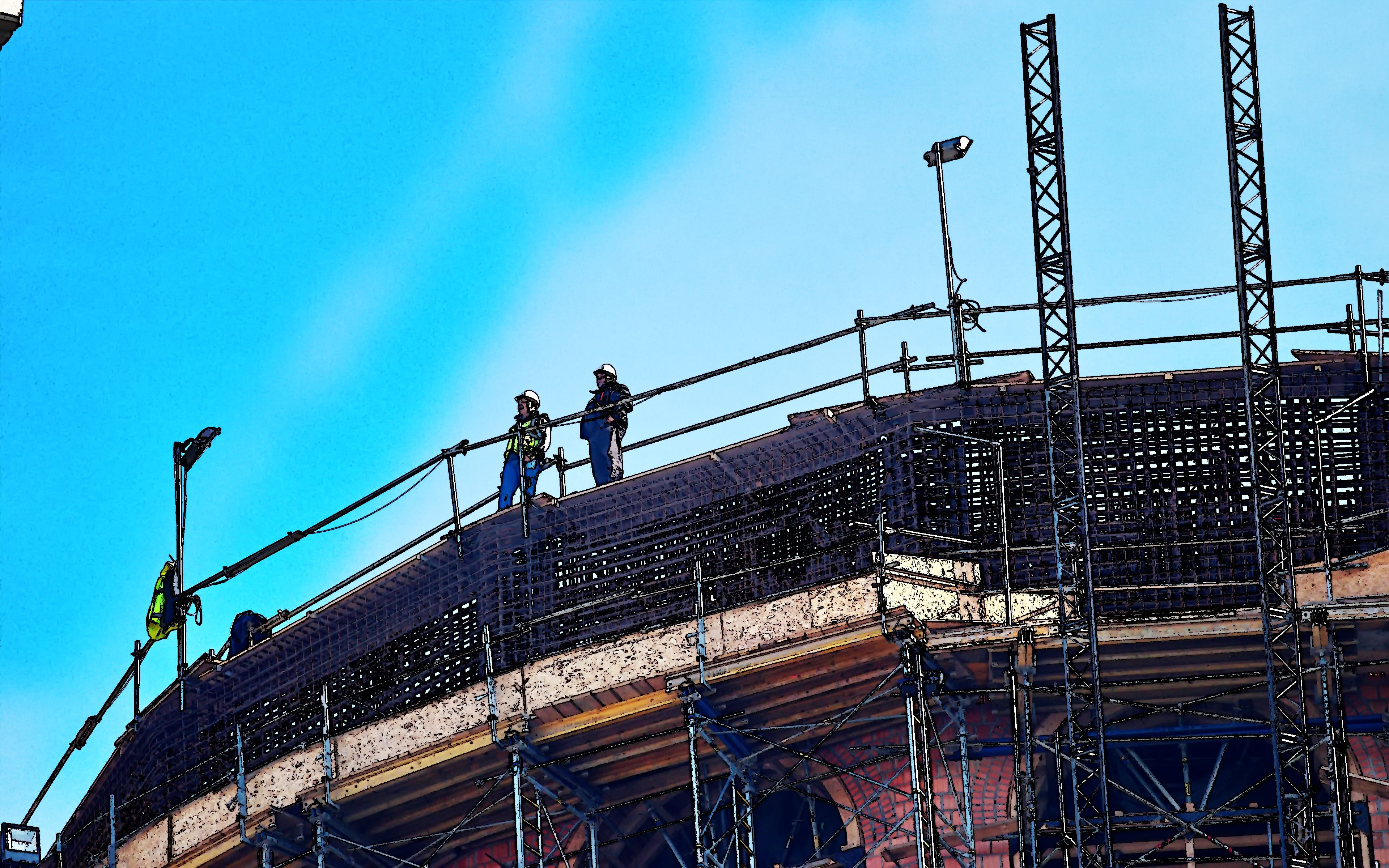 Free stock photo of cathedral, construction site, construction workers, edited