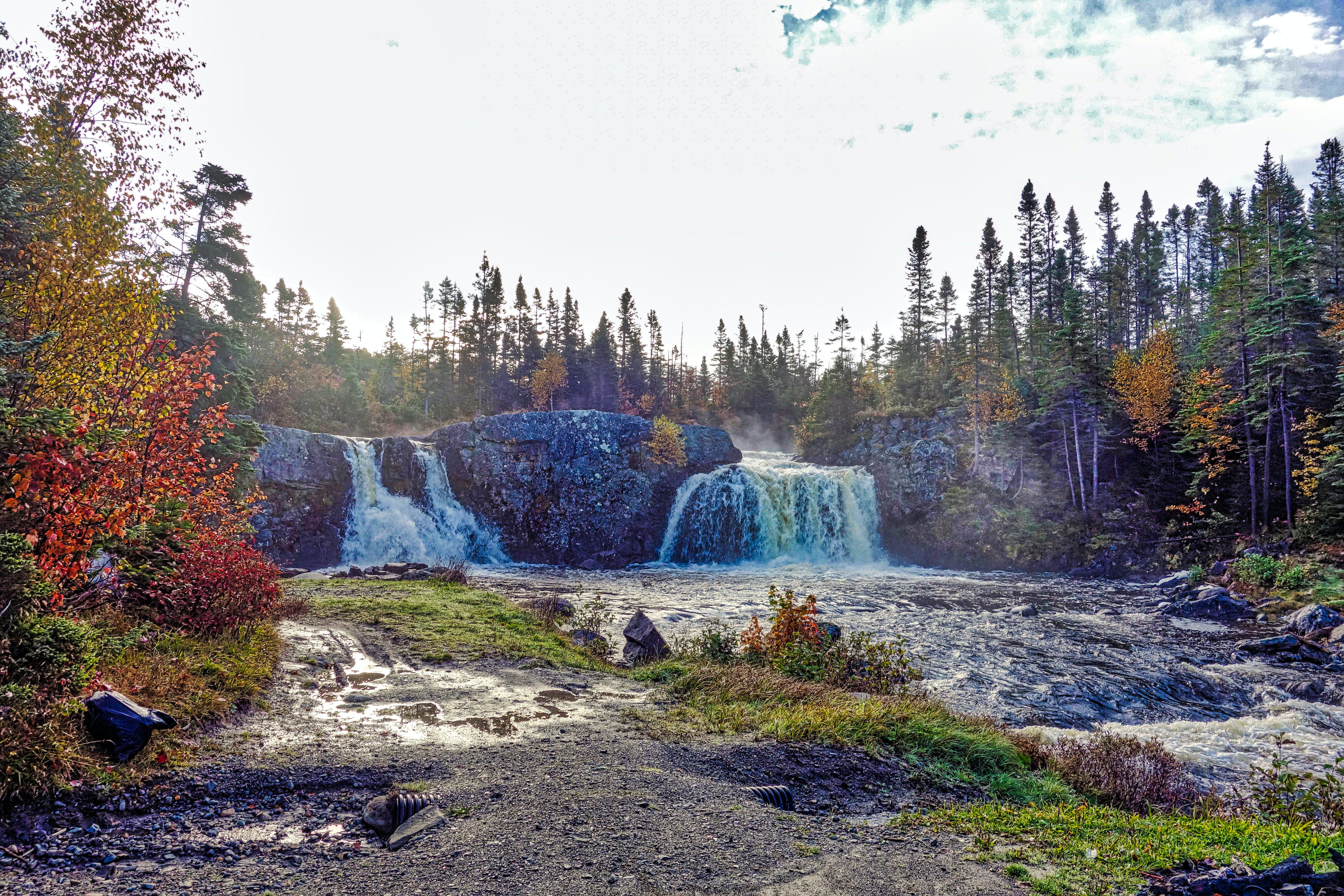 Free stock photo of dual waterfall, waterfall