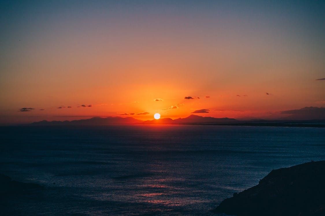 bakbelysning, daggry, hav