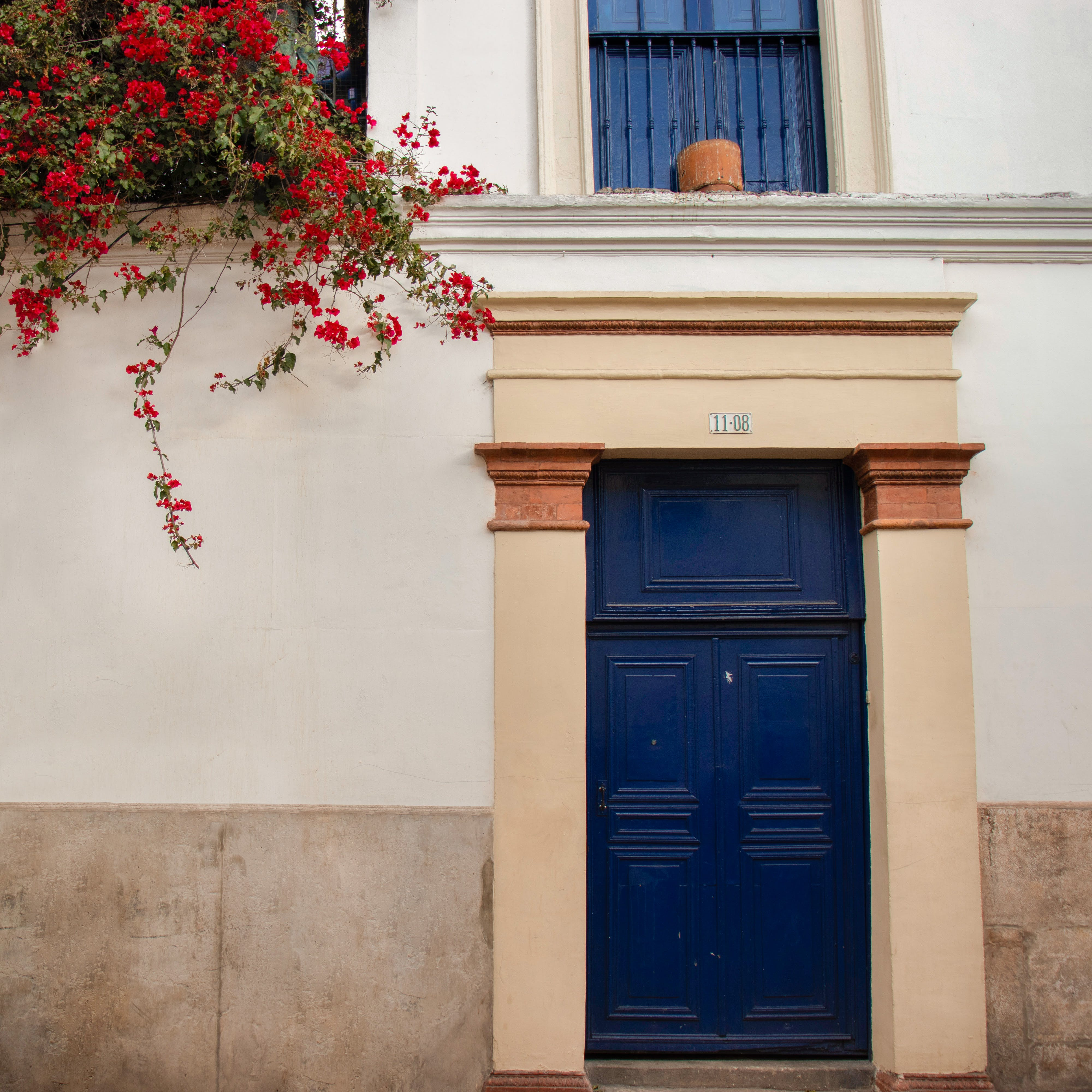 Free stock photo of blue, door, flowers, house