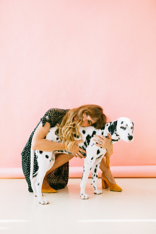 Woman Hugging Dalmatian