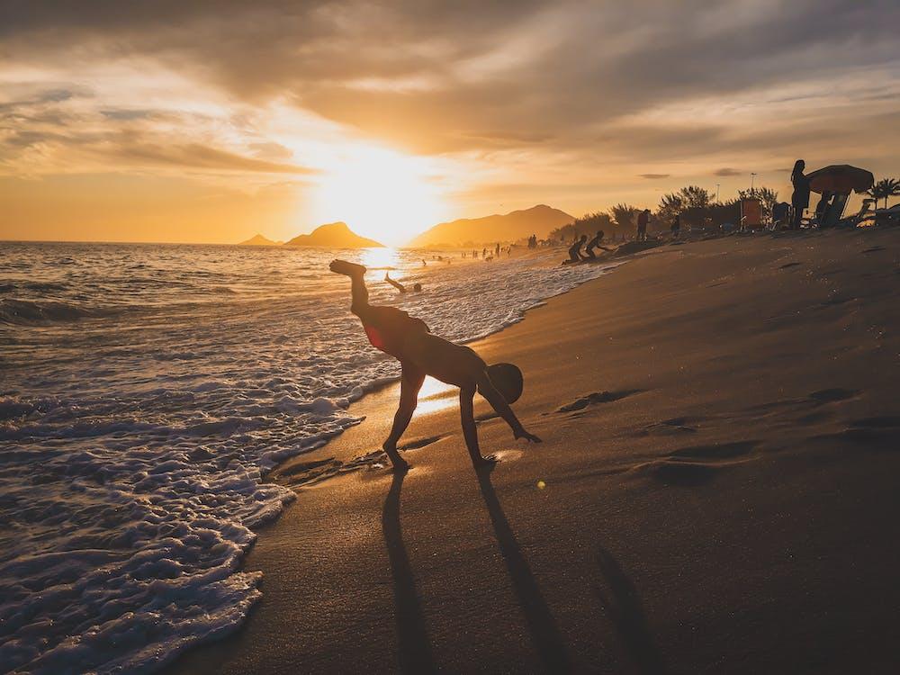 bakgrundsbelyst, gryning, gyllene horisonten