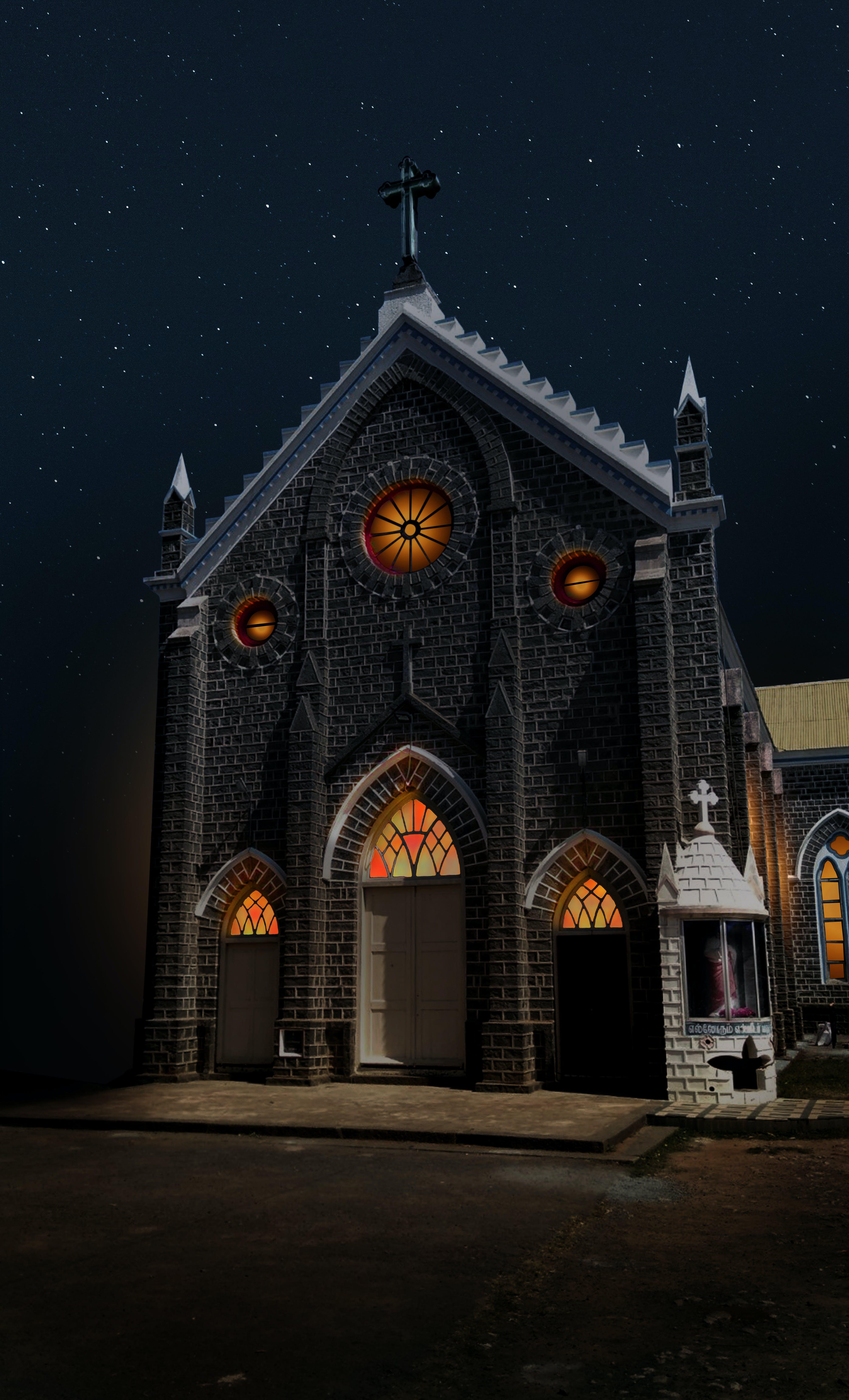 Free stock photo of church, night lights, night photography, night sky