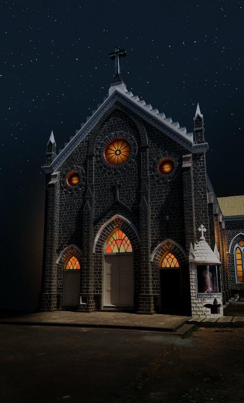 Immagine gratuita di chiesa, cielo notturno, fotografia notturna, luci della notte