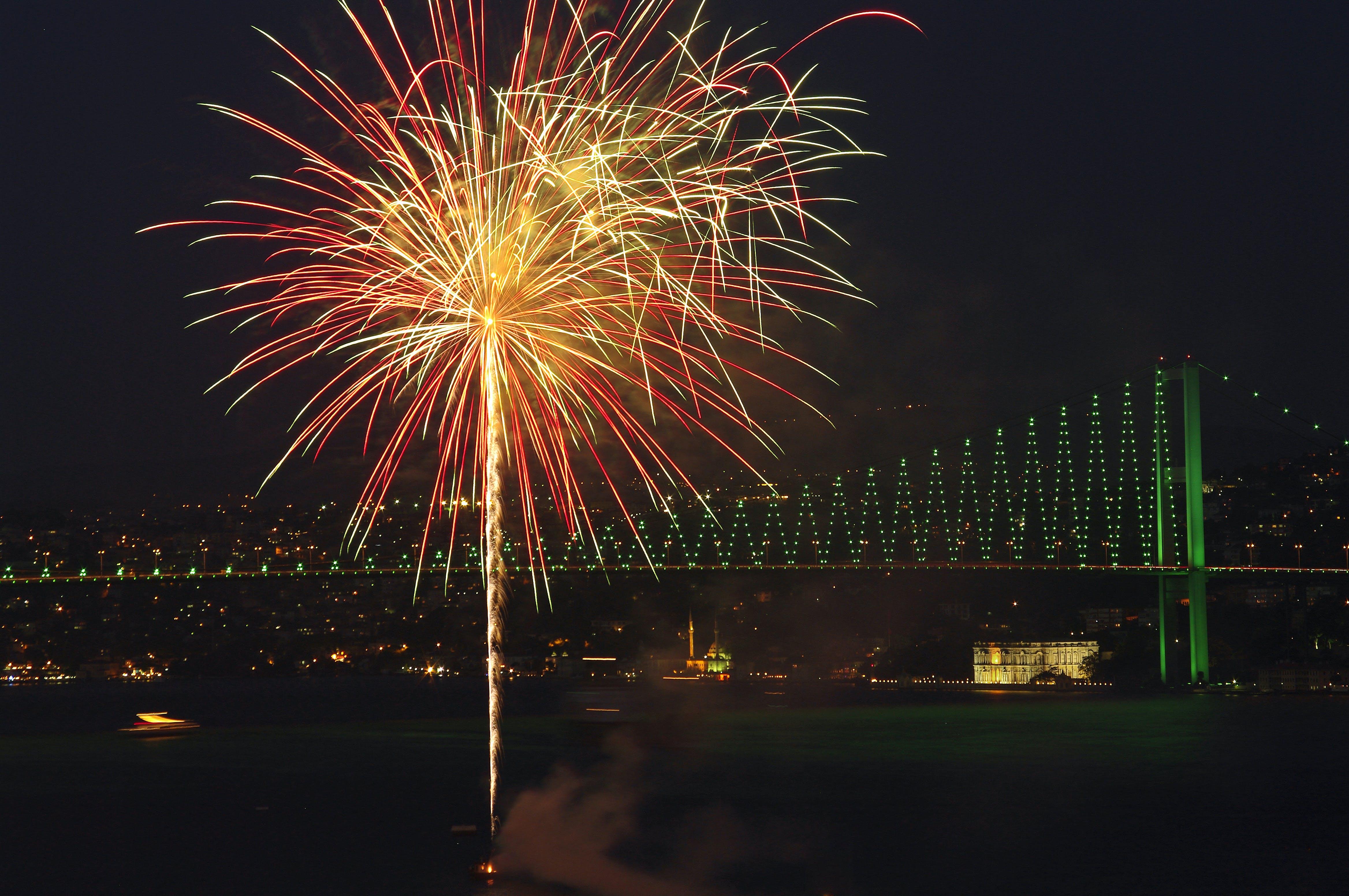 Free stock photo of bosphorus, bridge, bright, fireworks