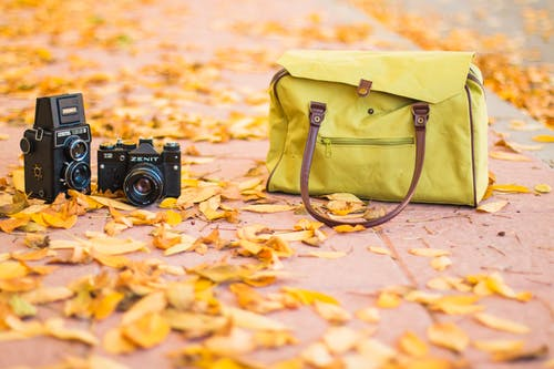 Two Black Cameras Near Yellow Shoulder Bag