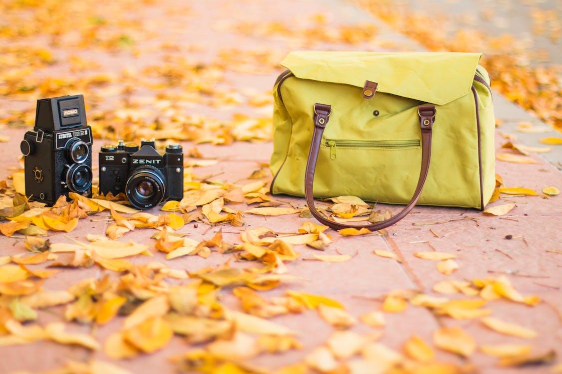 Two Black Cameras Near Yellow Shoulder Bag