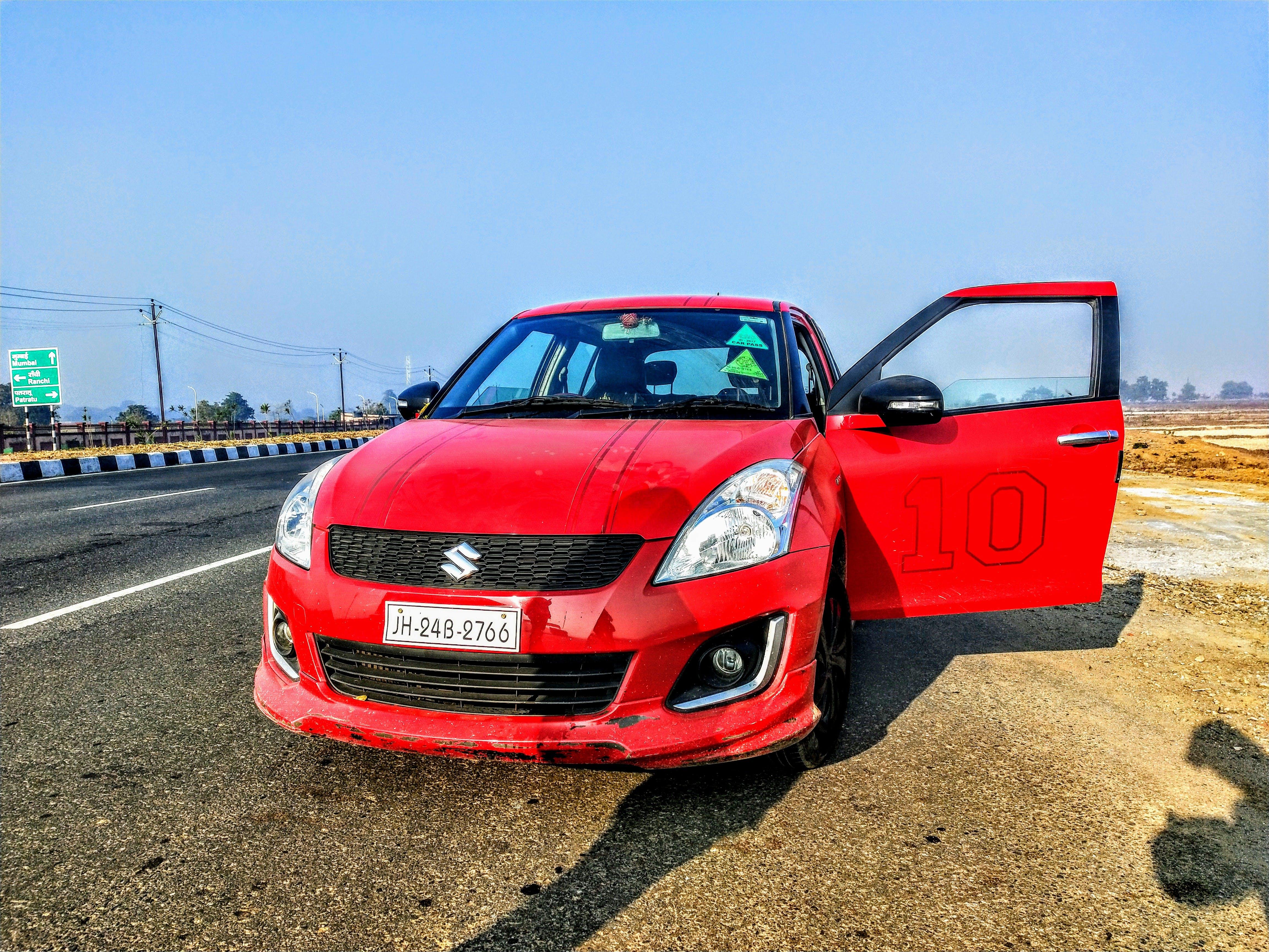 Free stock photo of Maruti Red car, swift