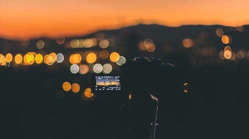 คลังภาพถ่ายฟรี ของ กล้อง, จอภาพ, ซิลูเอตต์, พลบค่ำ