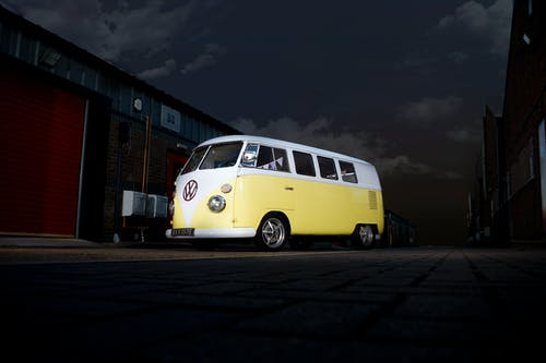 Free stock photo of classic car, industrial area, kombi, night shoot