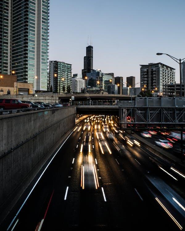 abend, architektur, autobahn