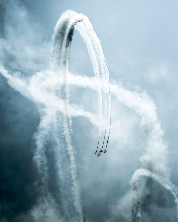 contrails, luchtshow, luchtvaart