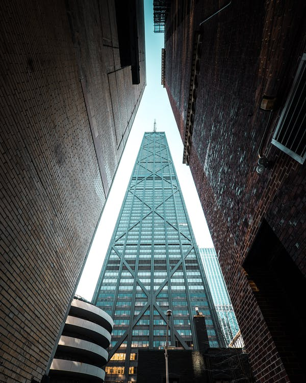 低角度拍攝, 城市, 塔