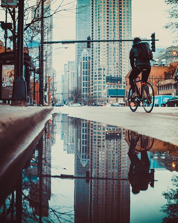 by, bygninger, cykel