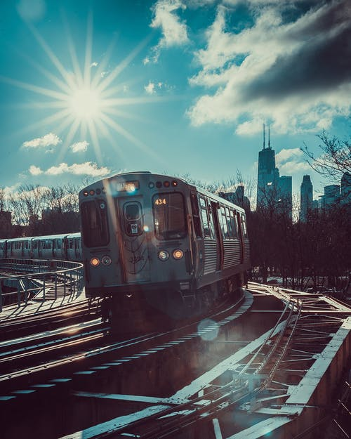 Foto stok gratis jalan kereta api, kendaraan, kereta api, matahari