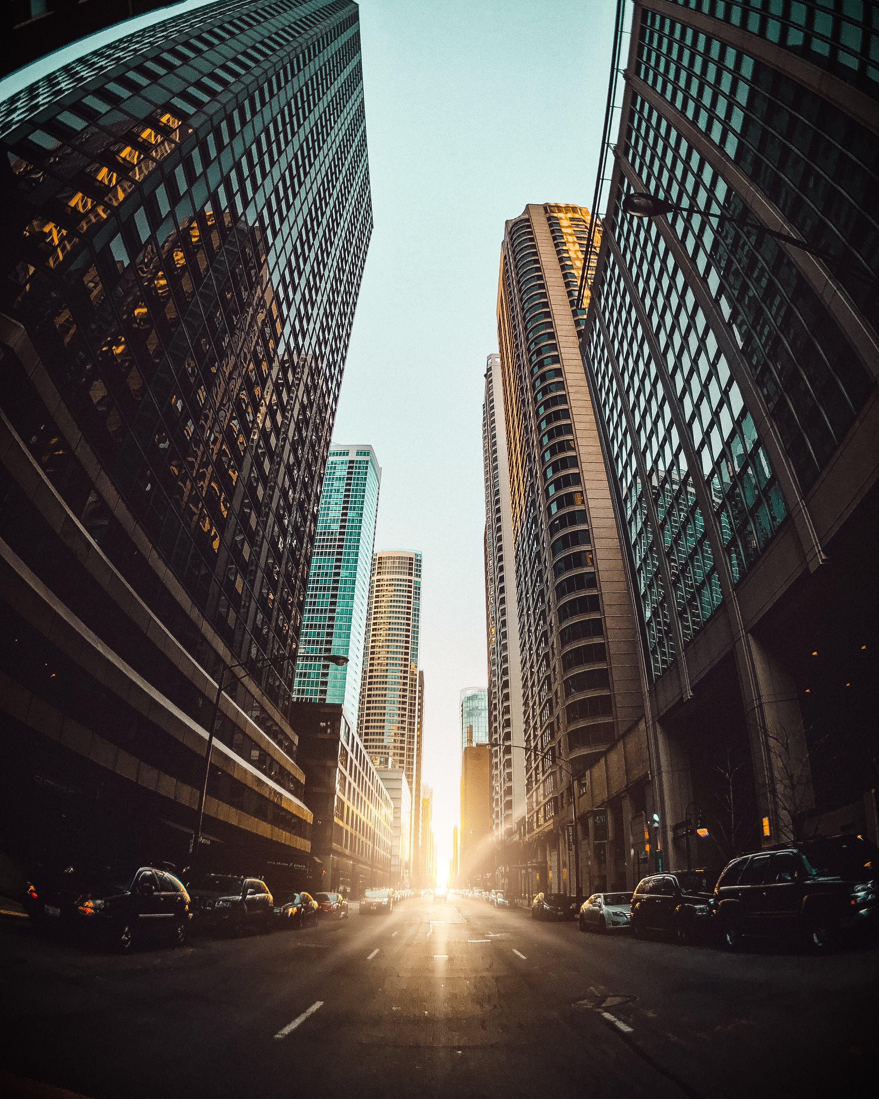 Cars Between High Rise Buildings