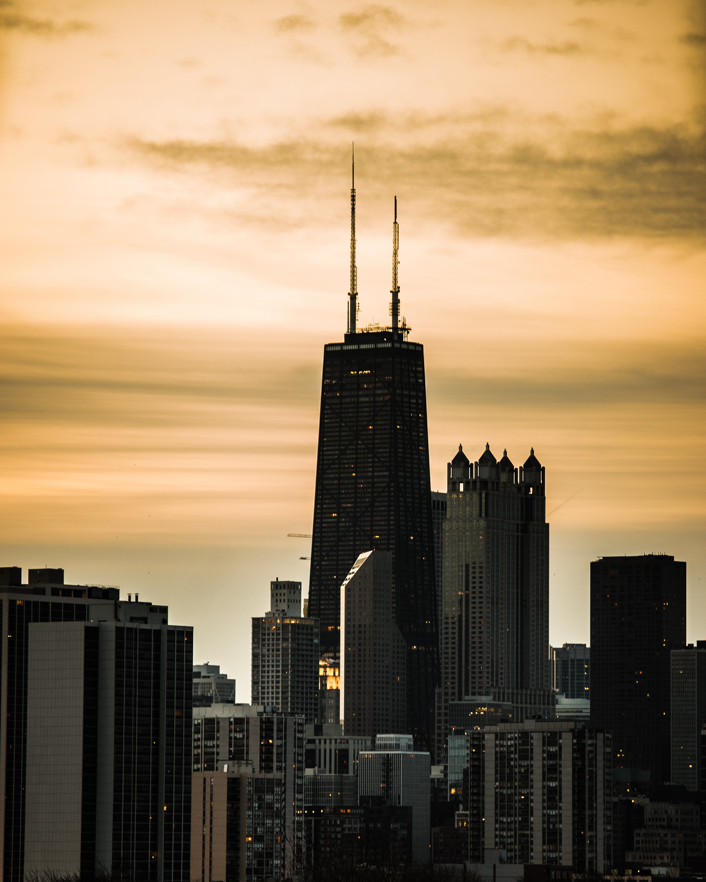 Sunset over City Buildings