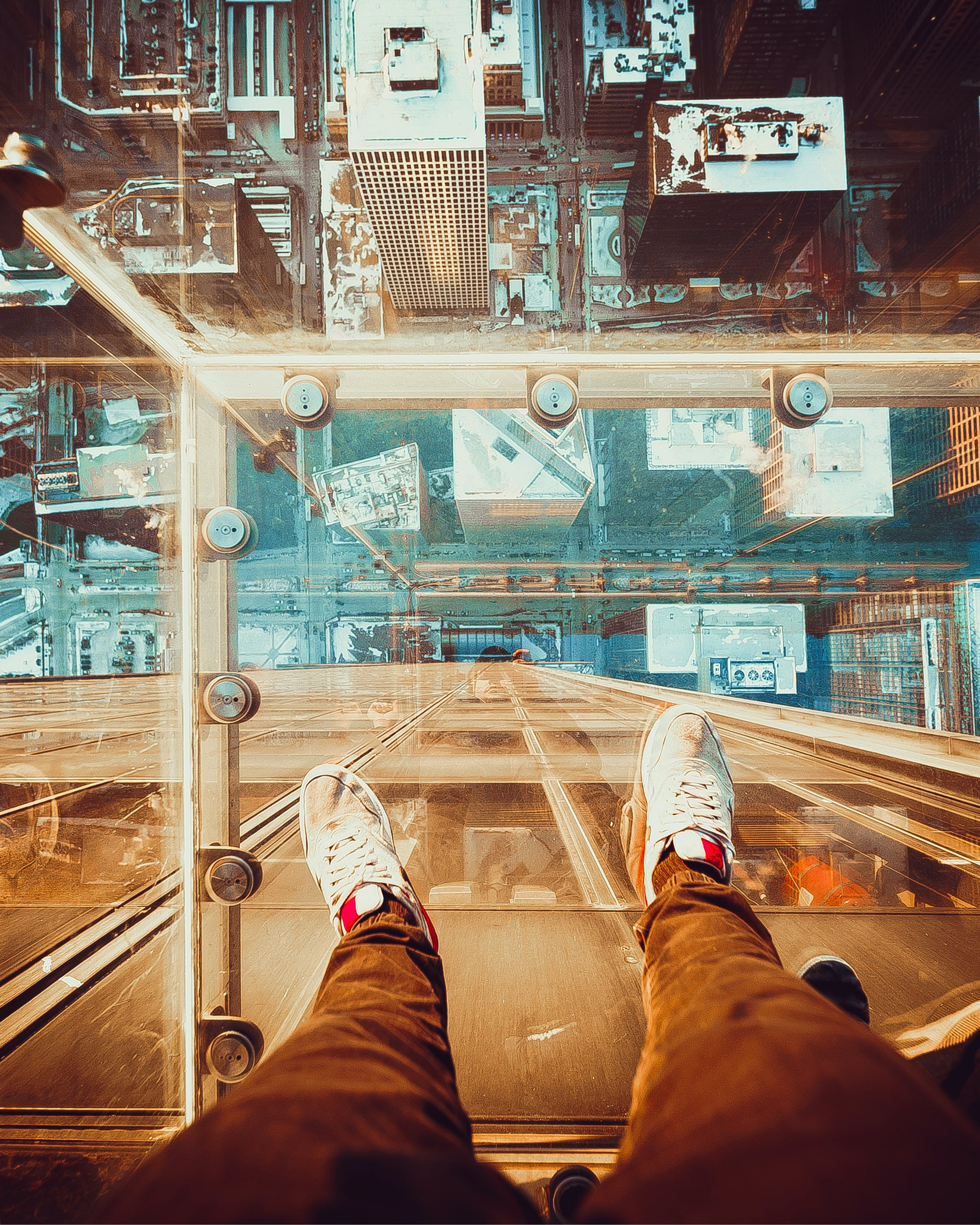 Person Standing On Glass Floor