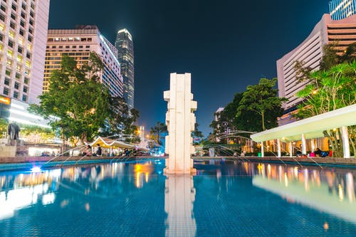Water Fountain and High-rise Buildings