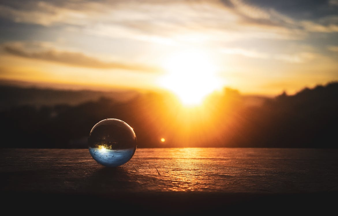 Lensball, Захід сонця, макрофотографія