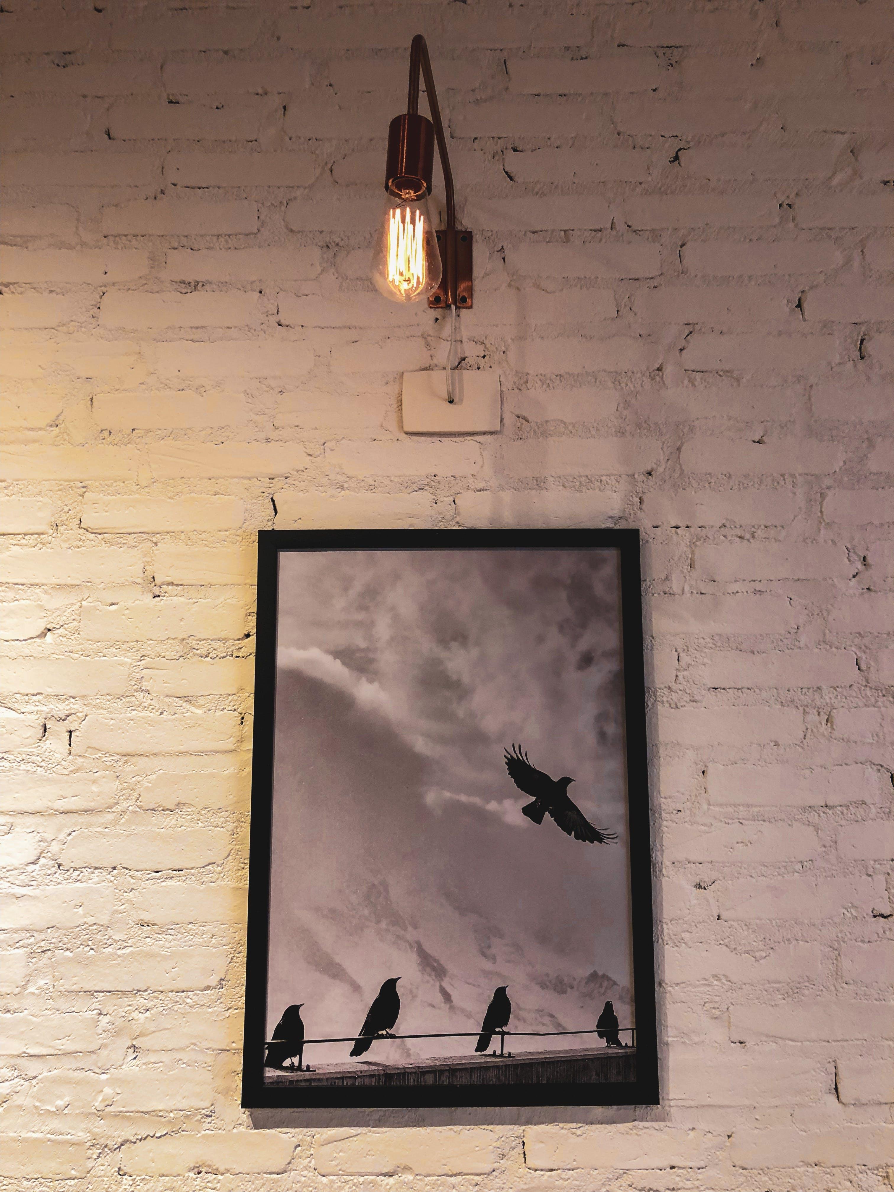 Silhouette of Birds Painting