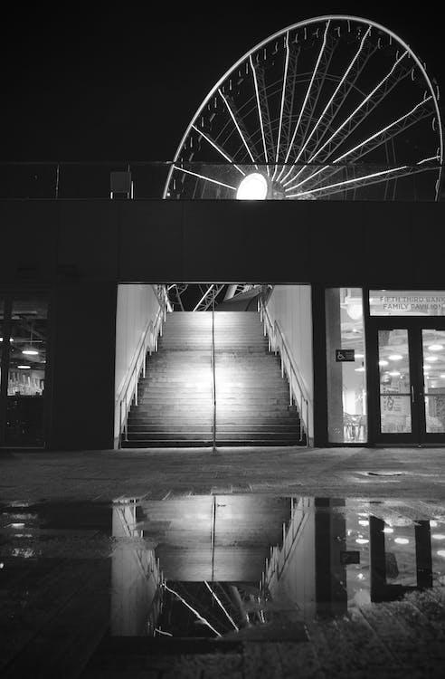 νυχτερινή φωτογραφία, πλωτή προβλήτα, ρόδα λούνα παρκ
