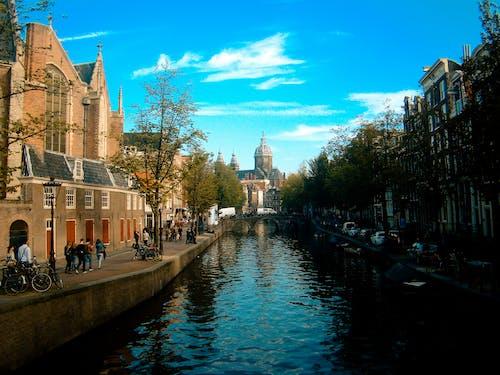 Základová fotografie zdarma na téma Amsterdam, architektura, budovy, kanál