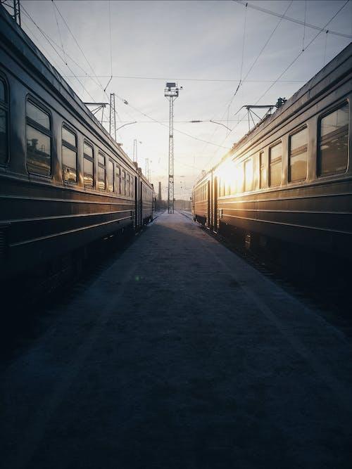 Foto d'estoc gratuïta de entrenar, estació, perspectiva, sistema de transport