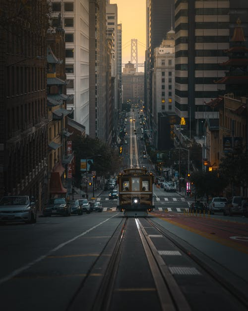 Tram On Road In City