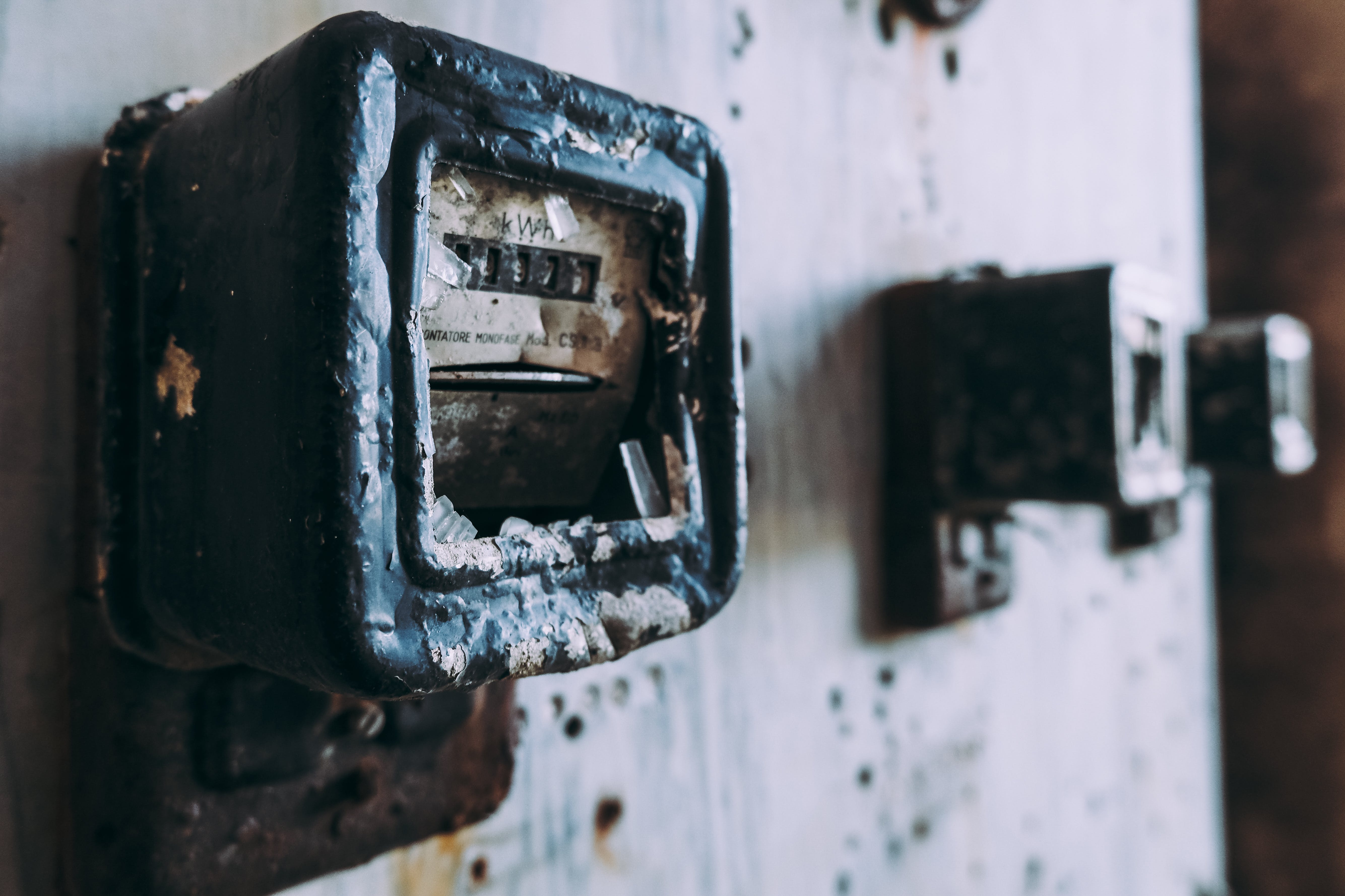 Free stock photo of abandoned, broken, electric meter, electrical cabinet
