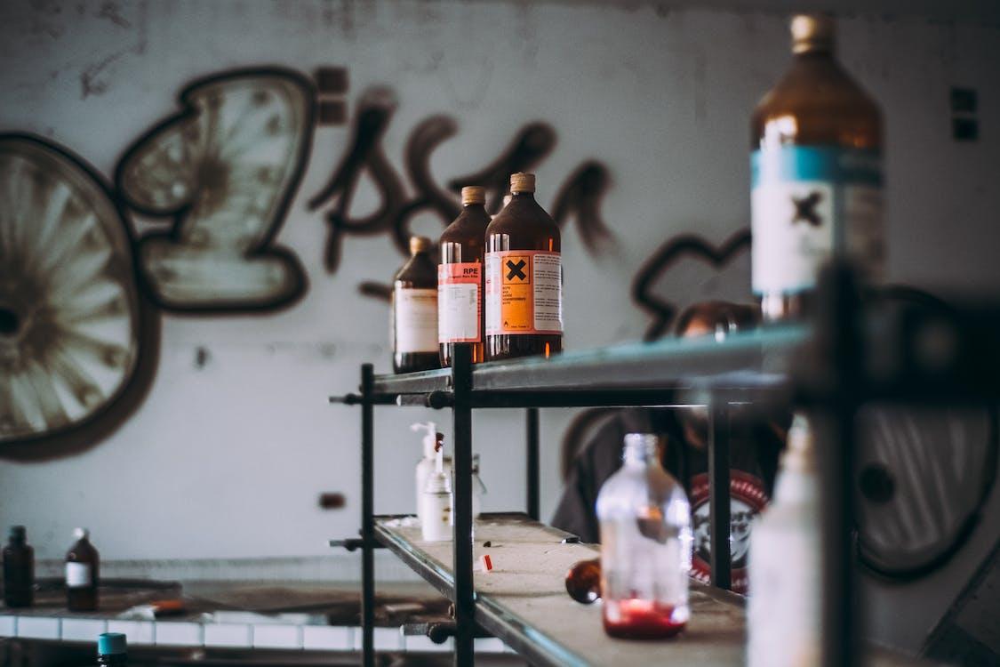 Glass Bottles on Shelf
