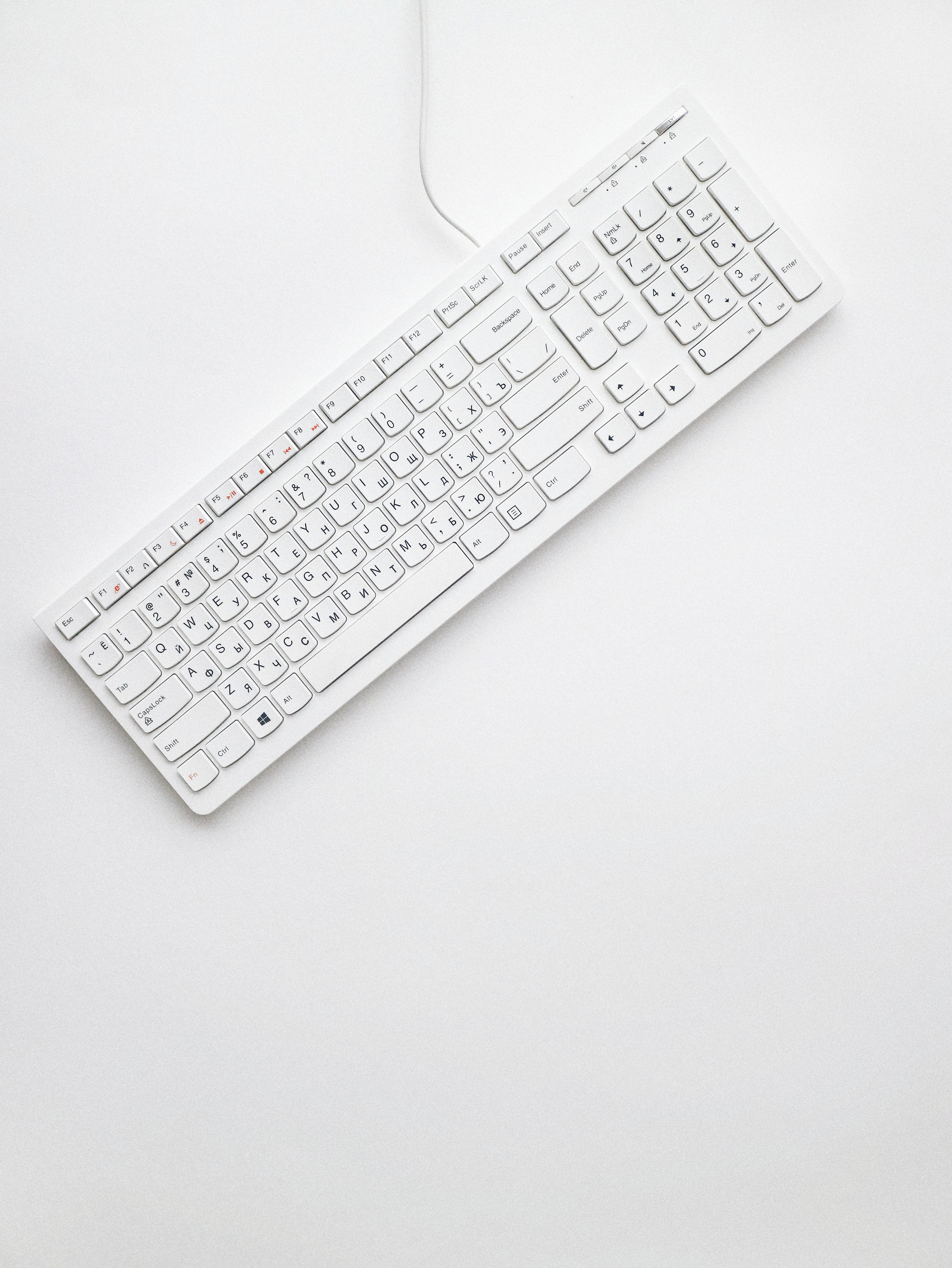 Top View Photo of White Keyboard