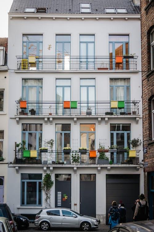 appartamenti, architettura, balconi