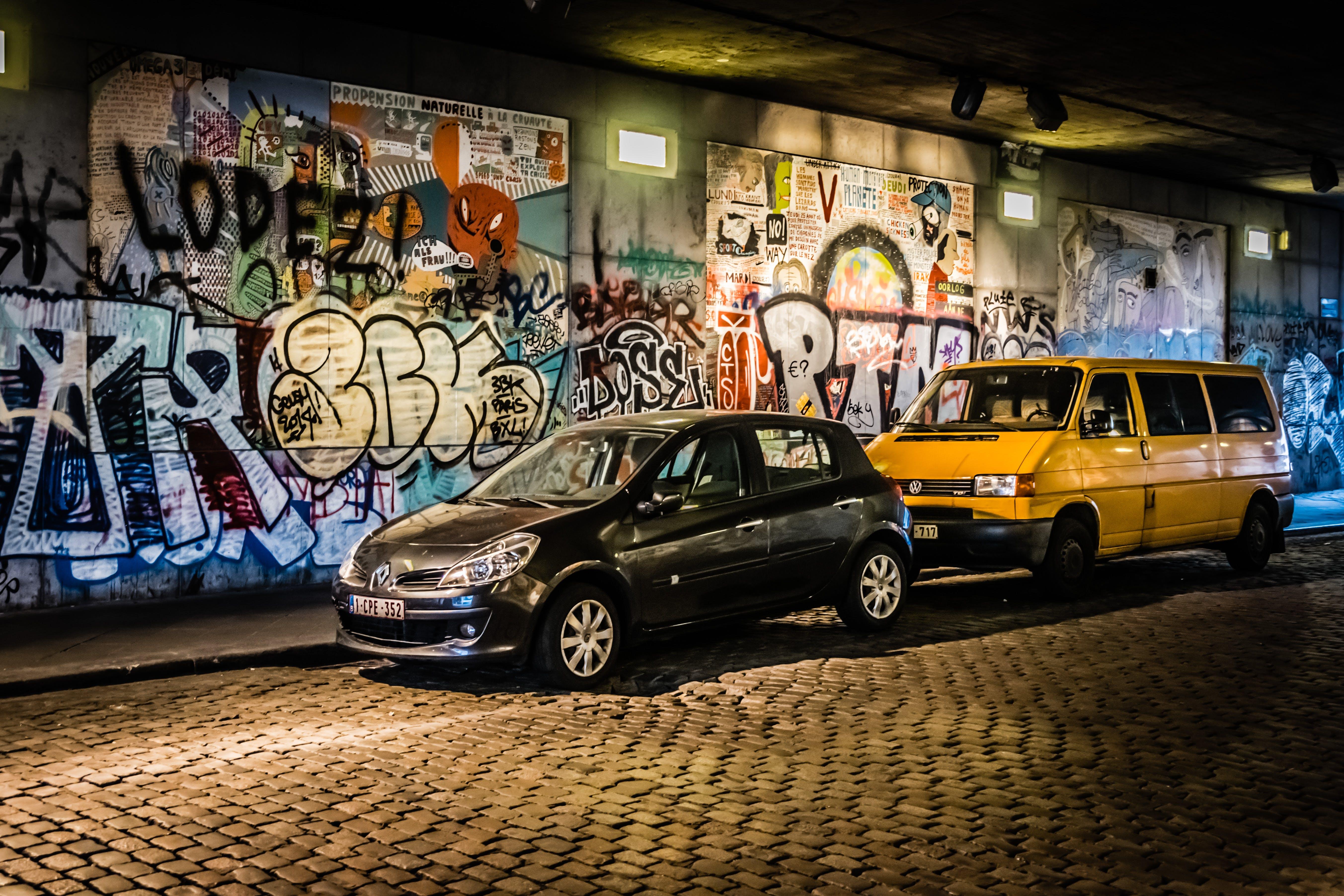 Free stock photo of cars, graffiti, hdr, under the bridge
