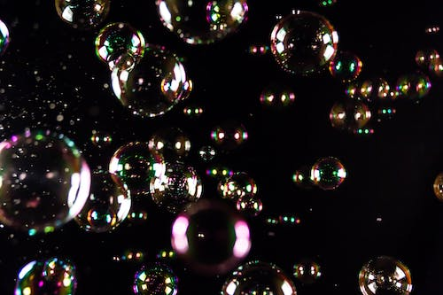 Free stock photo of balloons, black, colorful, soap bubble