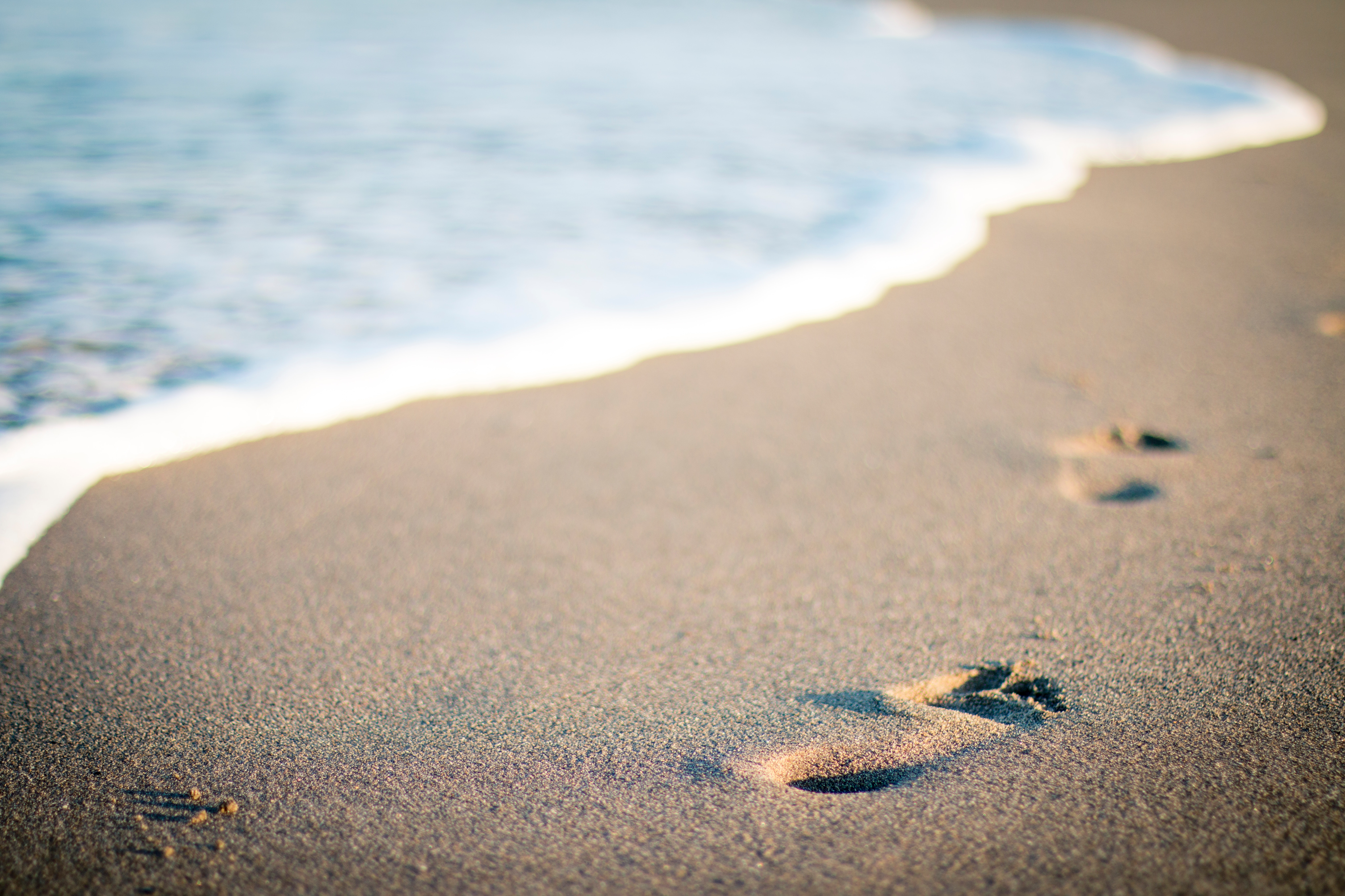 footprints in beach · free stock photo