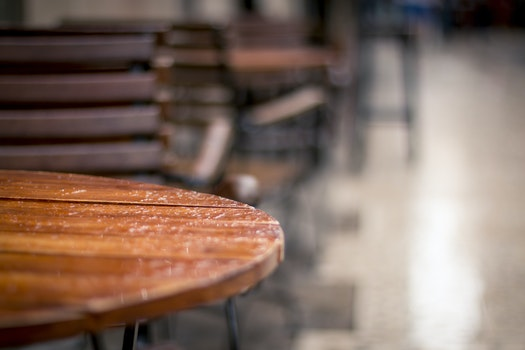 Free stock photo of restaurant, table, rain, wet