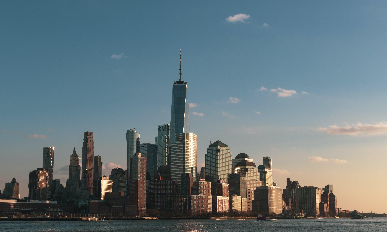 Clear Sky over City Buildings