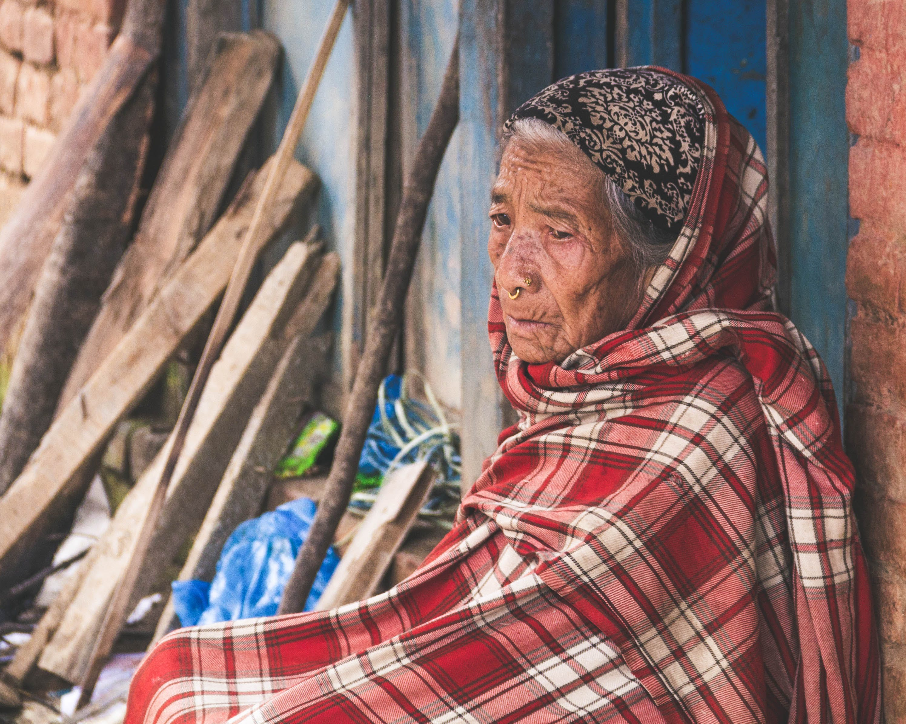 Free stock photo of nepal, old, old woman, red