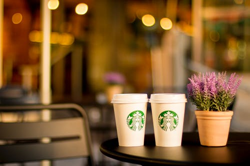 Two Starbucks Coffee Cups Beside to Pink Petaled Flowers in Brown Clay Pot on Round Black
