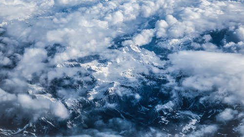 Free stock photo of alps, cloudscape, cold, plane