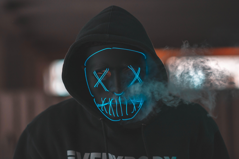 Man Wearing Black Mask And Hoodie Jacket